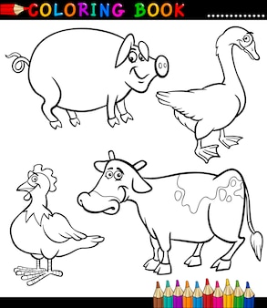 Cartoon farm animals for coloring book