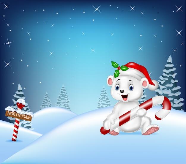 Cartoon fundo de natal com urso polar segurando doces