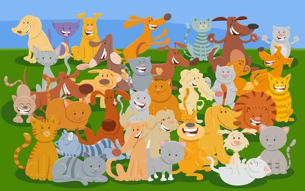 Cartoon gatos e cães grupo de personagens de animais em quadrinhos