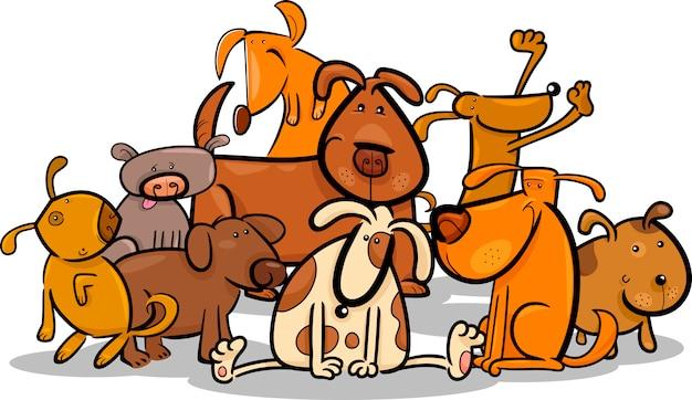 Cartoon group of cute dogs