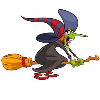 Cartoon halloween assustador bruxa montando uma vassoura no fundo branco isolado