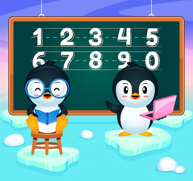Cartoon happy penguin education