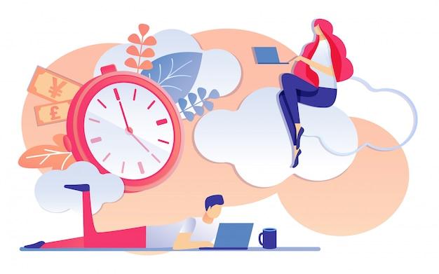 Cartoon homem e mulher trabalham notebook tempo é dinheiro