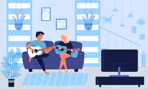 Cartoon homem mulher músicos