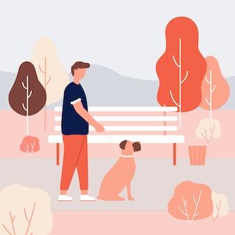 Cartoon homem segurando a trela na mão boxer dog sit