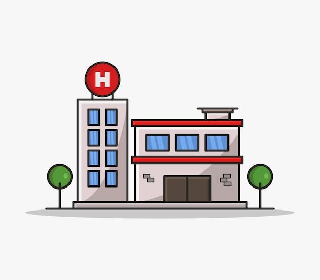 Cartoon illustrated hospital