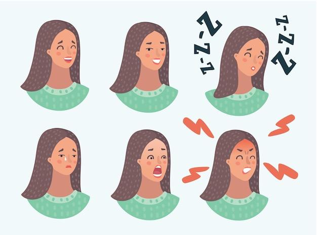 Cartoon illustraton de conjunto de diferentes emoções da mulher