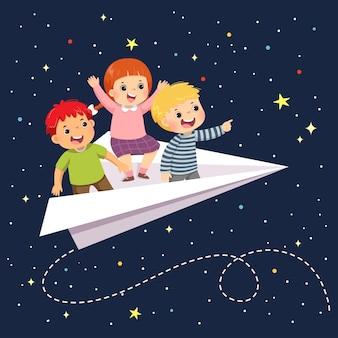 Cartoon ilustração de três crianças felizes voando no avião de papel no céu estrelado à noite.