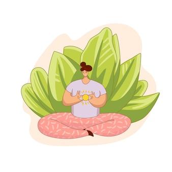 Cartoon ilustração plana com meditando menina segurando o sol no coração. humor positivo, meditação, liberação de estresse em casa. meditação