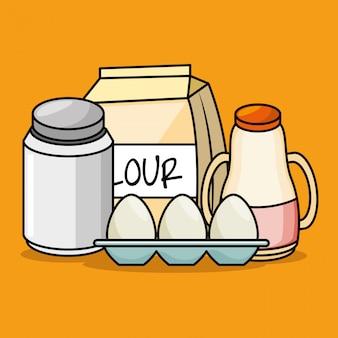 Cartoon ingredientes café da manhã ovos farinha suco