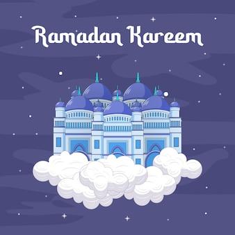 Cartoon islâmico mesquita ramadan kareem