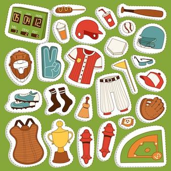 Cartoon jogador jogo de beisebol roupas uniforme luva bola e objetos de beisebol ícones