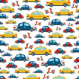 Cartoon kids cartoon cars seamless pattern.