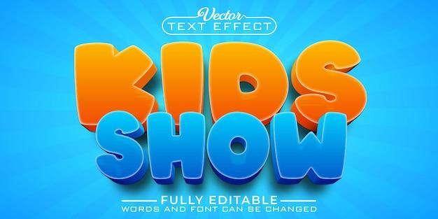 Cartoon kids mostrar modelo de efeito de texto editável