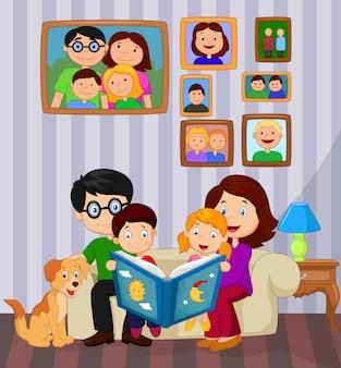 Cartoon ler um livro de história na sala de estar