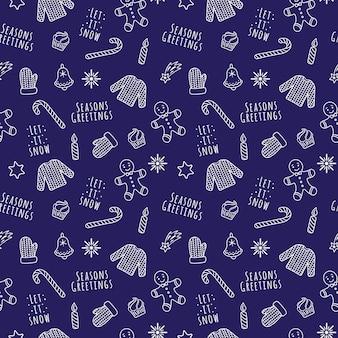 Cartoon linear branco padrão sem emenda de natal e ano novo com suéter, luva, flocos de neve, boneco de gengibre