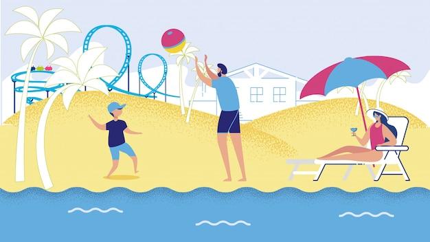 Cartoon man boy play voleibol mulher tomando banho de sol