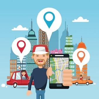 Cartoon man car city e smartphone