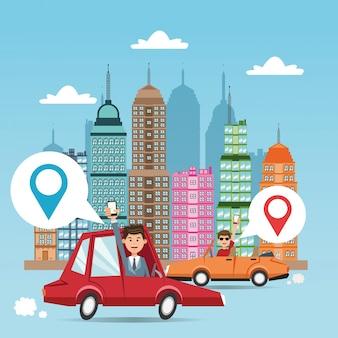 Cartoon man cars city e smartphone