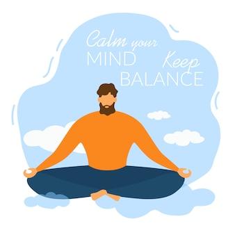 Cartoon man meditate calma sua mente manter o equilíbrio