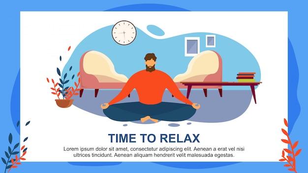 Cartoon man meditate home sente-se no chão da sala de estar