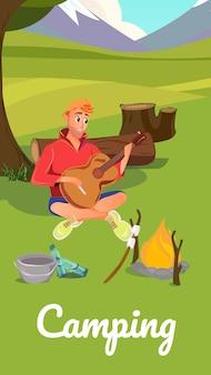 Cartoon man play guitar music perto de acampamento de fogueira