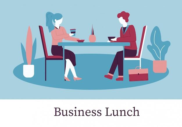 Cartoon man woman sit mesa no almoço de negócios de café