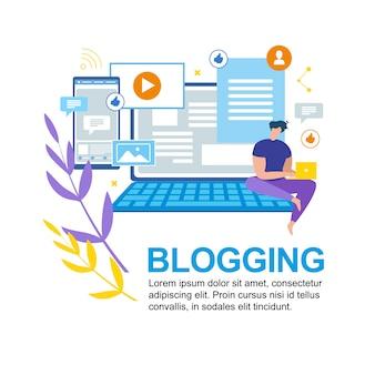 Cartoon man write notebook blogging mídia social