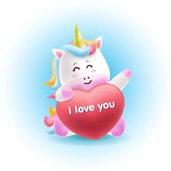 Cartoon mascote unicórnio abraçando o amor