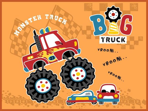 Cartoon monster truck em ação