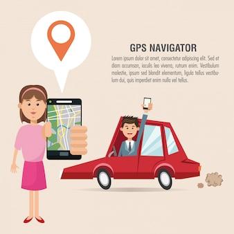Cartoon mulher homem carro e smartphone