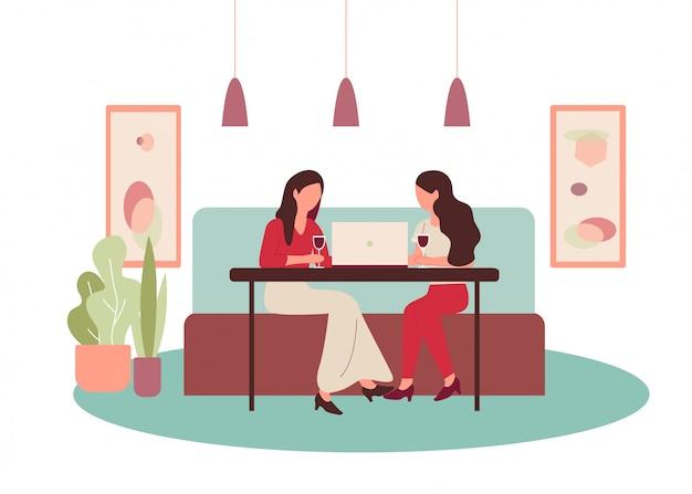 Cartoon mulheres bebem vinho menina conversando amigo conversa