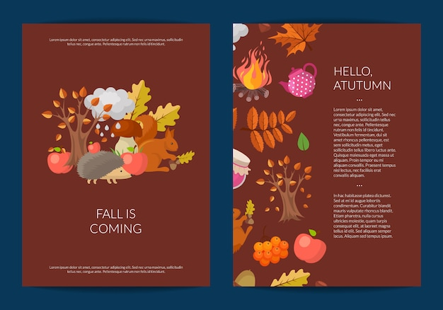 Cartoon outono elementos e folhas cartão ou panfleto
