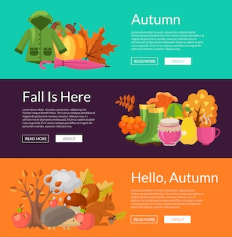 Cartoon outono elementos e folhas web banner conjunto