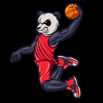Cartoon panda basketball