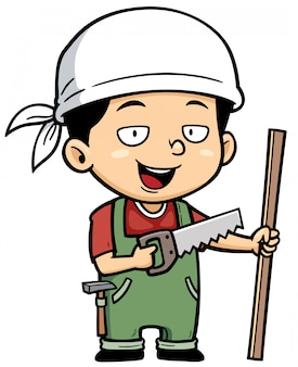 Cartoon pequeno carpinteiro