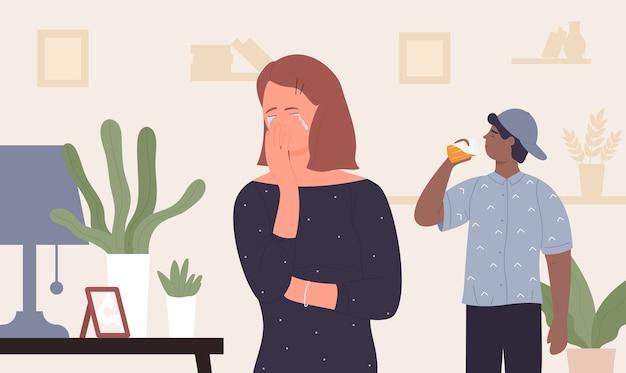 Cartoon personagem mãe deprimida e infeliz chorando