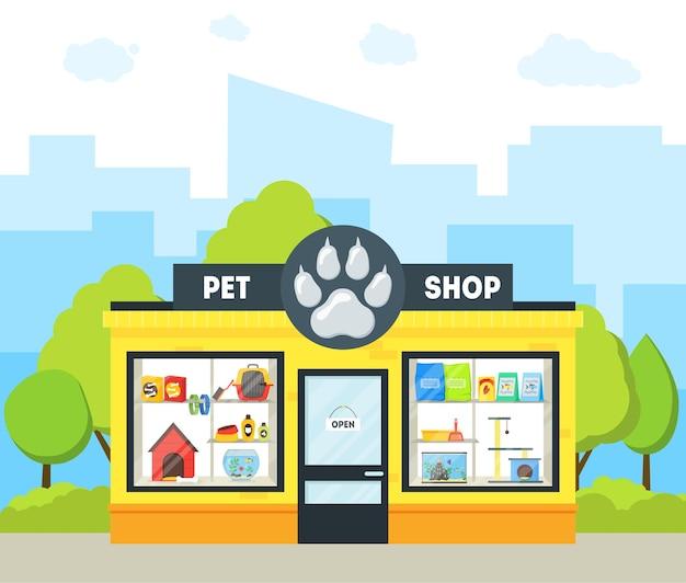 Cartoon pet shop edifício exterior fachada loja de animais domésticos em uma rua urbana. ilustração vetorial