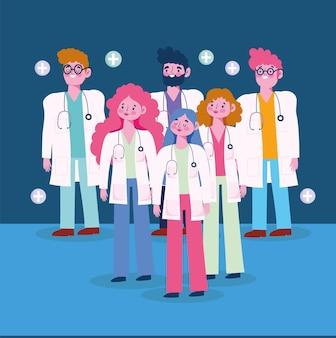 Cartoon profissional de médicos