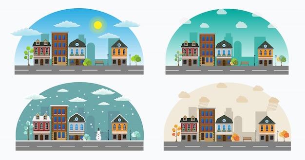 Cartoon retrô ilustração cidade abriga fachadas paisagem.