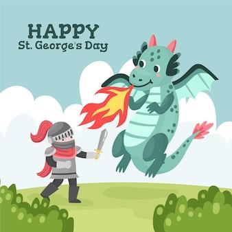 Cartoon st. ilustração do dia de george com cavaleiro e dragão
