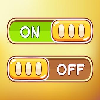 Cartoon toggle switch diferente ativo de símbolos