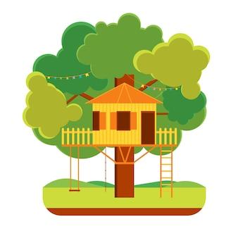 Cartoon tree house outdoor summer kid home flat design style. ilustração vetorial