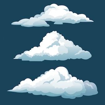 Cartoon três nuvens do céu azul