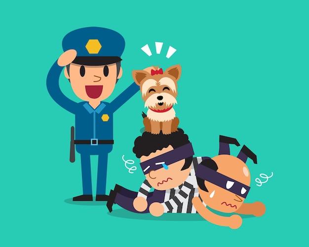 Cartoon um cão bonito ajudando policial para pegar ladrões