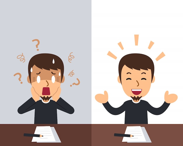 Cartoon um homem expressando emoções diferentes