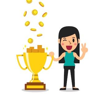 Cartoon uma mulher ganhando dinheiro com troféu