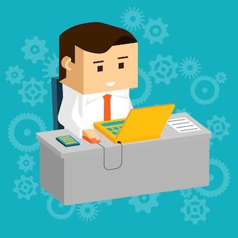 Cartooned empresário ocupado trabalhando em sua mesa cinza com o computador portátil.