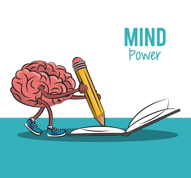 Cartoong de cérebro escrevendo no livro com desenho gráfico de ilustração vetorial de lápis