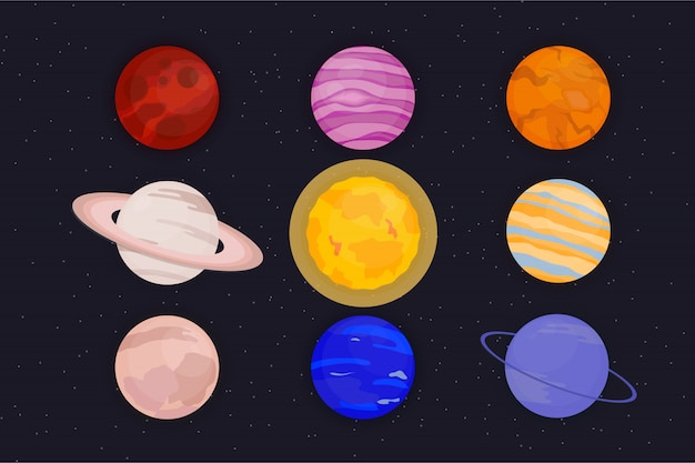 Cartoonset dos planetas, ilustração bonito isolada dos planetas no fundo escuro.